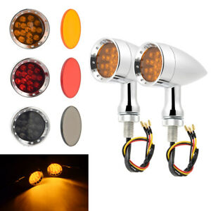 Motorcycle Bullet Style LED Turn Signal Amber Light Indicator Fit For Harley US