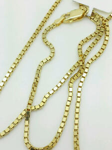 14K Solid Yellow Gold Box Necklace Gold Chain  16