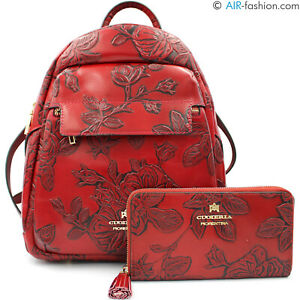 Cuoieria Fiorentina Made in Italy red floral pattern leather backpack + wallet