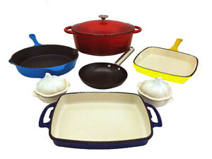 Le Chef 10-Piece All Enameled Cast Iron Cookware Set. (Multi-colored, R44.)