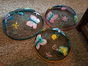 3 Vintage ? DANSK ? Screen Food Fly Bug Covers Domes Picnic BBQ NICE Phillipines