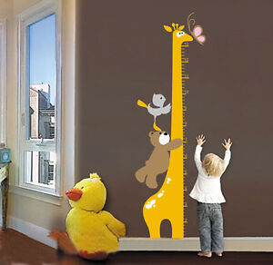 Removable Cartoon Giraffe Children Kid Growth Height Chart PVC Wall Sticker BS