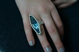 NEW Uno De 50 Blue Swarovski Elements Crystal Silver quot;RIGHT NOWquot; Ring SZ 6.5 S $79.00