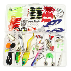 106pcs Angling Kit Set Fishing Lures Trout Spoon Hooks Bass Baits Sequins