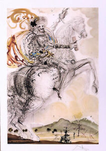 Salvador DALI Don Quixote Litho Print Facsimile Signed Numbered COA $54.95