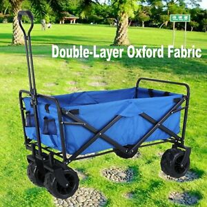 Folding Collapsible Beach Wagon Garden Camping Utility All-Terrain Cart- 170 Lbs