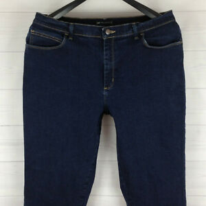 Lee womens size 16 short stretch solid blue dark wash relaxed straight jeans EUC
