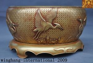 China Ming Dynasty purple bronze 24k gold Gilt Crane Lotus incense burner Censer
