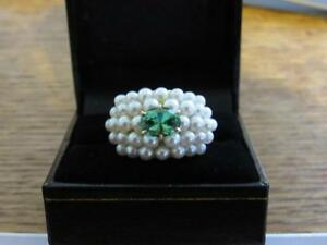 1.59CT VS AMAZING BLUE GREEN TOURMALINE & SEED PEARL ESTATE 15GR 18KT YG RING