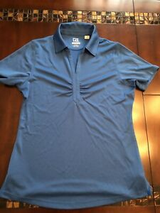 Women's Cutter & Buck CB DryTec Blue Golf Polo- Size Large- Pre-owned