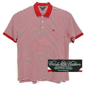 Brooks Brothers XL Country Club Pro Sport Golf Polo Shirt Red & White Stripe $18.29
