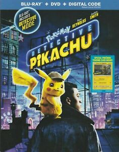 Detective Pikachu Blu-Ray + DVD + Digital + Slipcover + Trading Card (2019) NEW