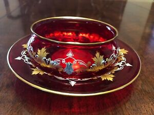 MoserCranberry enamel and gilt finger Bowl and Saucer Signed, great condition.