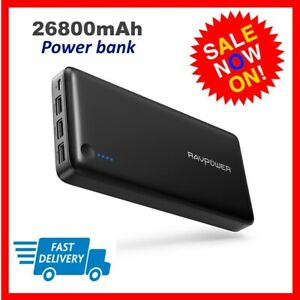 Power Bank RAVPower Portable Charger 26800mAh Total 5.5A Output 3-Ports External