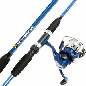 Blue Bait Cast Open Face Spinning 2 Pc Rod and Reel Combo 63 In Fishing Pole