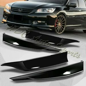 For 13-15 Accord 4-DR HFP-Style Painted Black Front+Rear Bumper Spoiler Lip 4pc