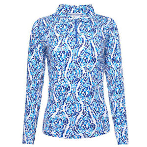 Ibkul Ladies Birthday Cake Print Long Sleeve Zip Polo - Choose Size and Color