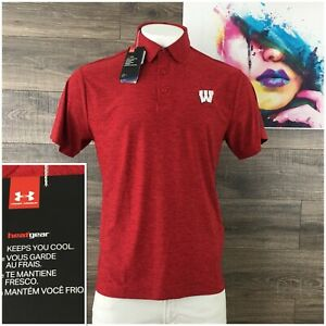 Under Armour Mens Loose Fit Heatgear Polo Golf Shirt Sz Large Heather Red New!
