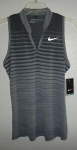NWT WOMENS S SMALL NIKE GOLF DRI-FIT ZONAL COOLING SLEEVELESS POLO SHIRT STRIPED