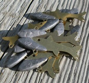 Lead Weighted Brass Forage Minnows DIY Tackle Lot of 20 Medium Size Unpainted