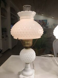 White Milk Glass Hobnail Lamp Pair