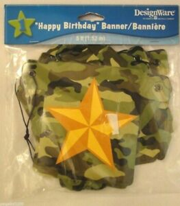 Designware quot;Happy Birthdayquot; Banner Camouflage with Star 5 Ft