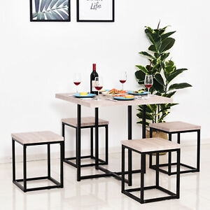 Compact 5pc Kitchen Dining Set Wood Bar Table Chair Home Space Saving Furniture
