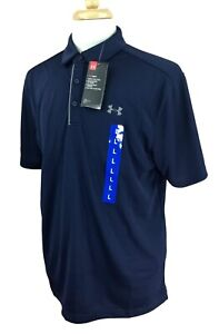 Under Armour UA Tech Men's Loose Heat Gear Polo Golf Shirt Navy NWT Size Large