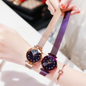 Ladies Watch Starry Sky Diamond Dial Women Bracelet Watches Magnetic Stainless U