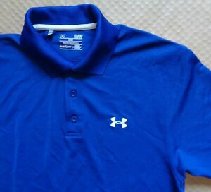 Under Armour Heat Gear Loose Royal Blue Polyester Polo Shirt Mens S Great