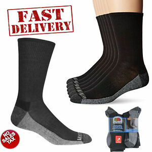 6 Pair Mens Heavy Duty Crew Socks Cushioned Durable Work Black Size 6-12 Men