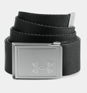 New Under Armour Solid Webbing Youth Belt Black Graphite UA Golf Reversible