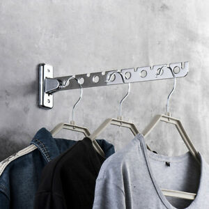 Folding Wall Mounted Clothes Hanger Stainless Steel Clothes Holder Swing New