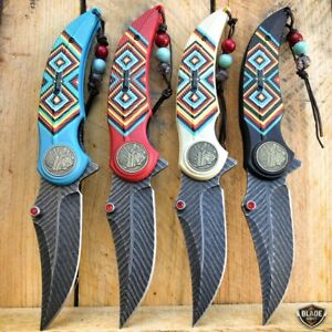 8.25 Native American Indian Feather Tactical Spring Open Assisted Pocket Knife $11.95