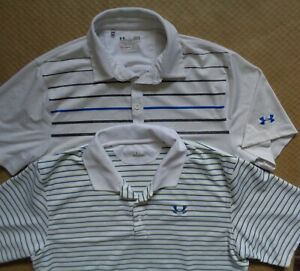 Under Armour Heat Gear Loose White Striped Stripes Polyester Polo Shirt Mens L