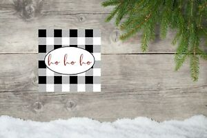 10x10 Black Buffalo Check Ho Ho Ho Christmas Canvas Print