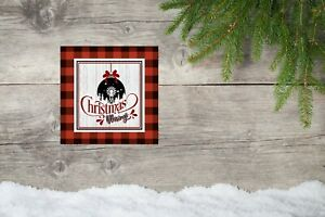 10x10 Red Plaid Christmas Blessings Christmas Canvas Print