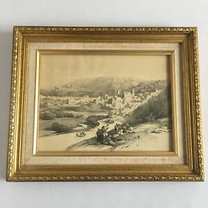 Antique Holy Land Wall Art David Roberts Lithograph Hebron March 18th 1839