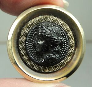 BRASS & BLACK GLASS PICTURE BUTTON ~  LADY HEAD CAMEO