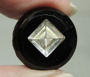 ANTIQUE BLACK GLASS W CLEAR GLASS PRECISION INLAY