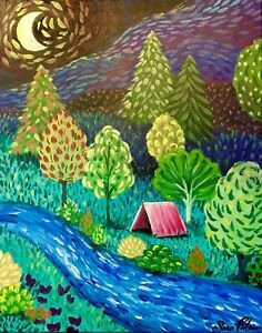 Camping On The River Acrylic Painting