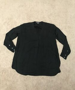 Vince Black Silk Relaxed Fit Popover Blouse-Size Small