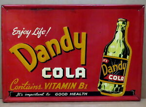 Vintage 1940s Dandy Cola Metal Soda Sign Embossed Picture Frame RARE 38