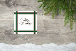 10x10 Merry Christmas Tartan Canvas Print