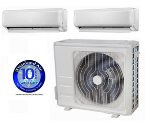 DiamondAir Mini Split Multi 2 Zone 22.5 SEER heat pump system DF18MZ2 DF2009HMSI