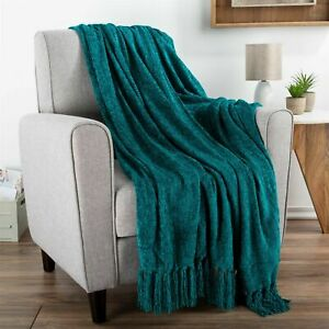 Chenille Throw Oversized 70 x 60 Soft Shiny Fringe Couch Chair Snuggle Blanket
