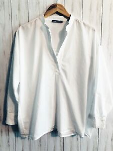 Vince Classic Cotton Popover V Neck Tunic  Top Blouse Size XS White