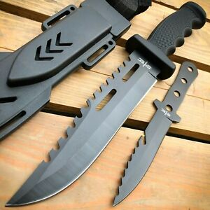 12.5 TACTICAL SURVIVAL Hunting Army Bowie FIXED BLADE w Throwing Knife NEW $11.95