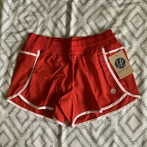 NWT Harper Knit Women's Red White Lined Running Athletic Workout Shorts XL