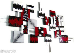 HUGE Red n black Square logic Contemporary Modern Wall Sculpture 80x50 Art69